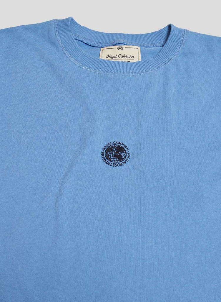 Embroidered Globe Logo T-Shirt in Washed Blue