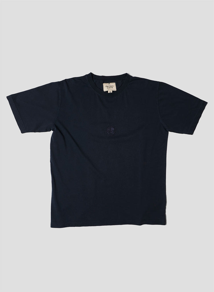 Embroidered Globe Logo T-Shirt in Black Navy