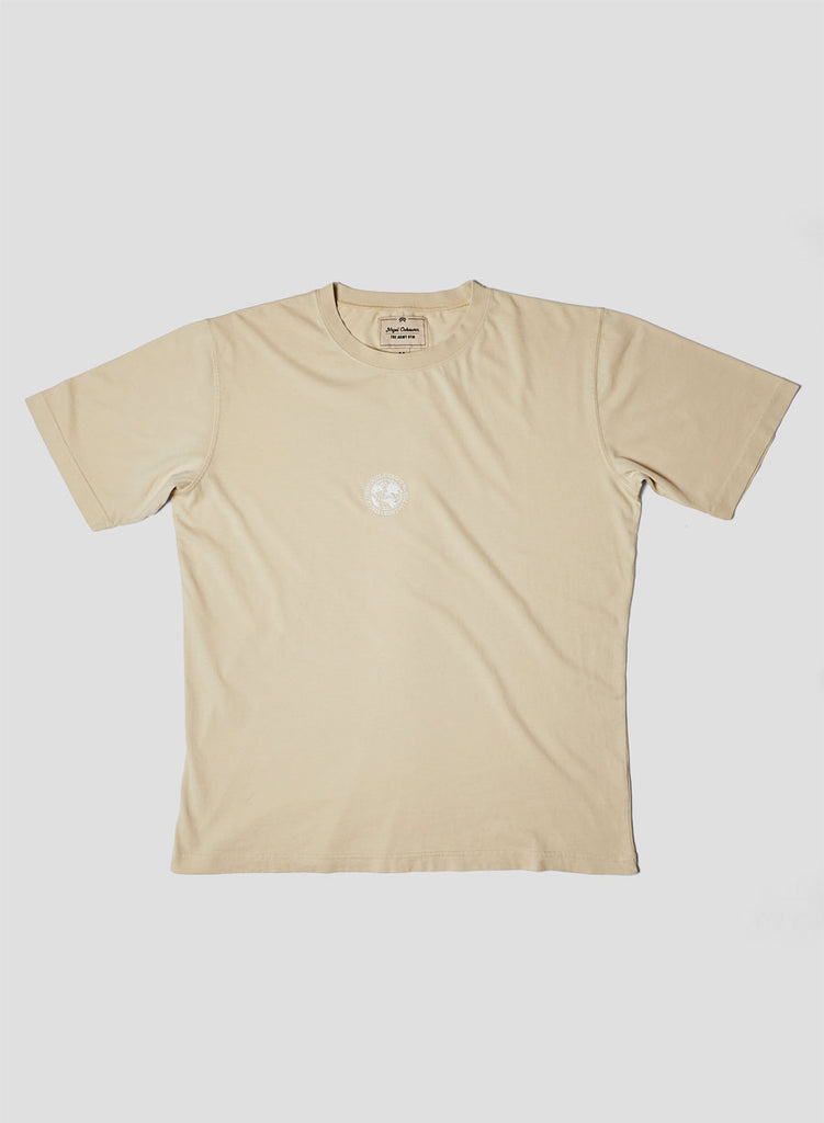 Embroidered Globe Logo T-Shirt in Natural