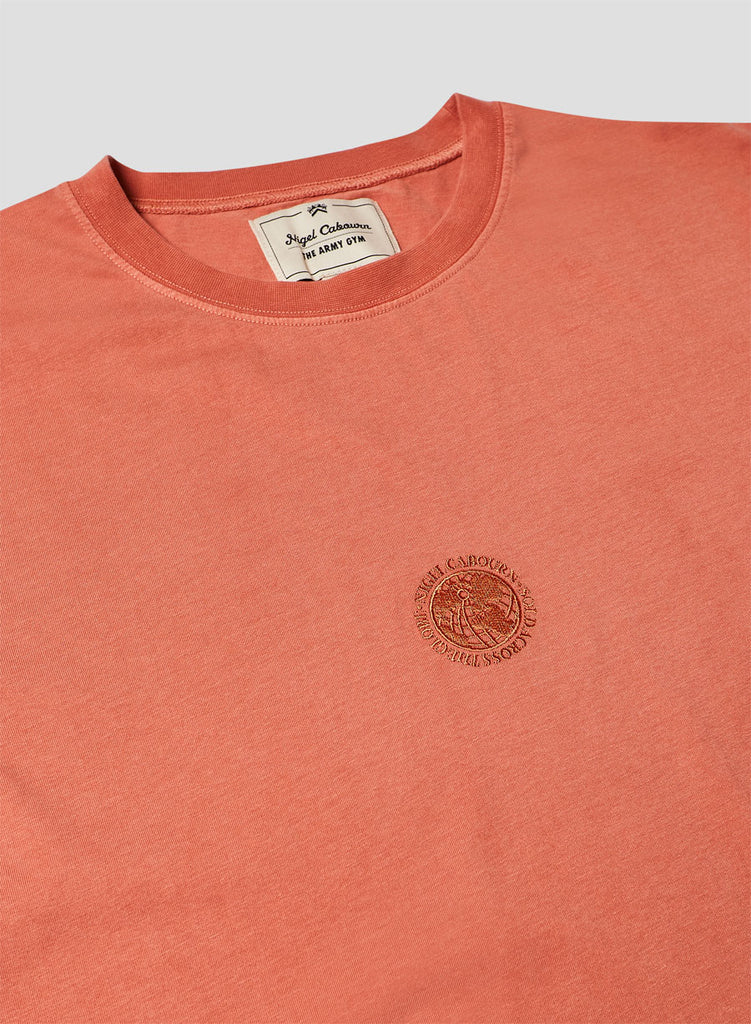 Embroidered Globe Logo T-Shirt in Vintage Orange