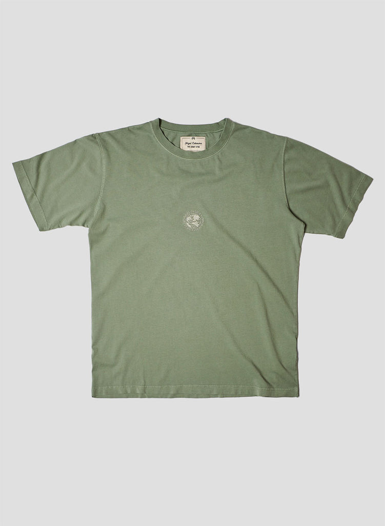 Embroidered Globe Logo T-Shirt in Washed Army