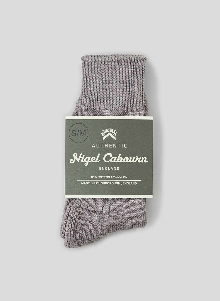 Cushion Sole Ribbed Crew Sock in Granite