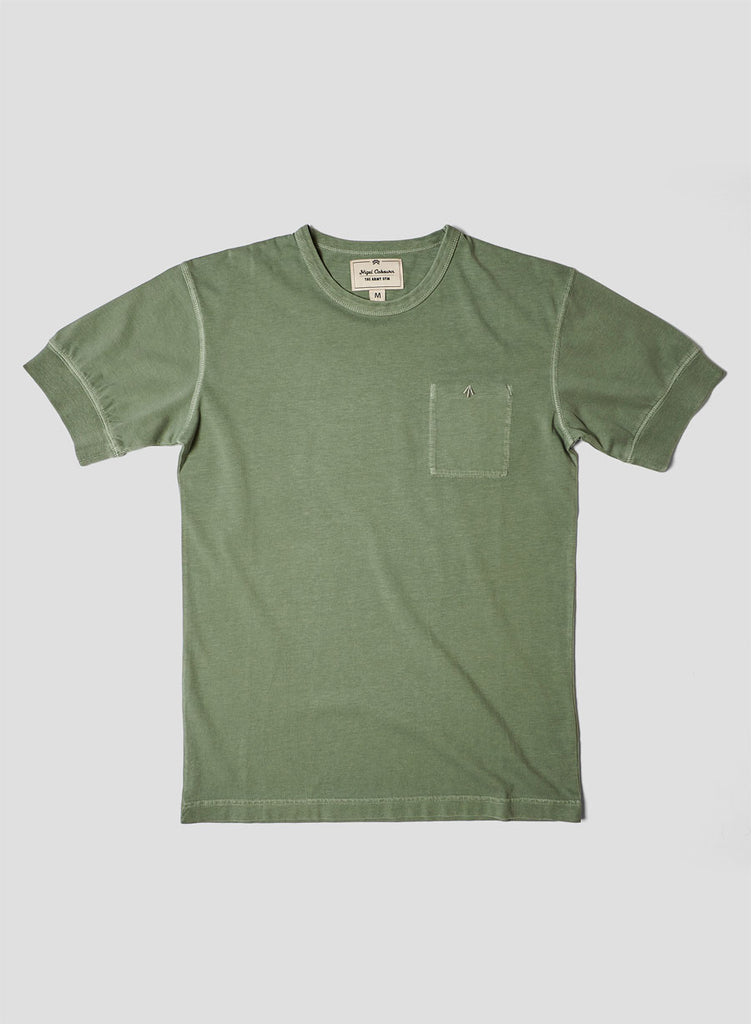 Warm Up Military Tee in Washed Army