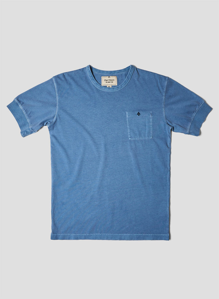 Warm Up Military Tee in Washed Blue