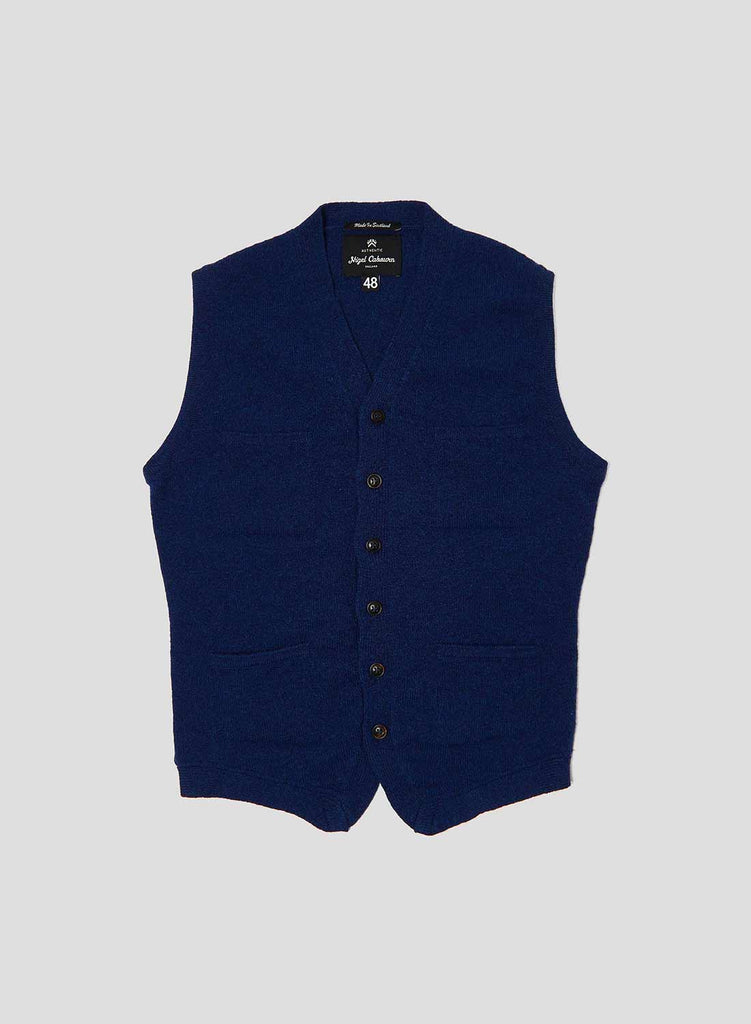 4 Pocket Knitted Vest in Bright Blue