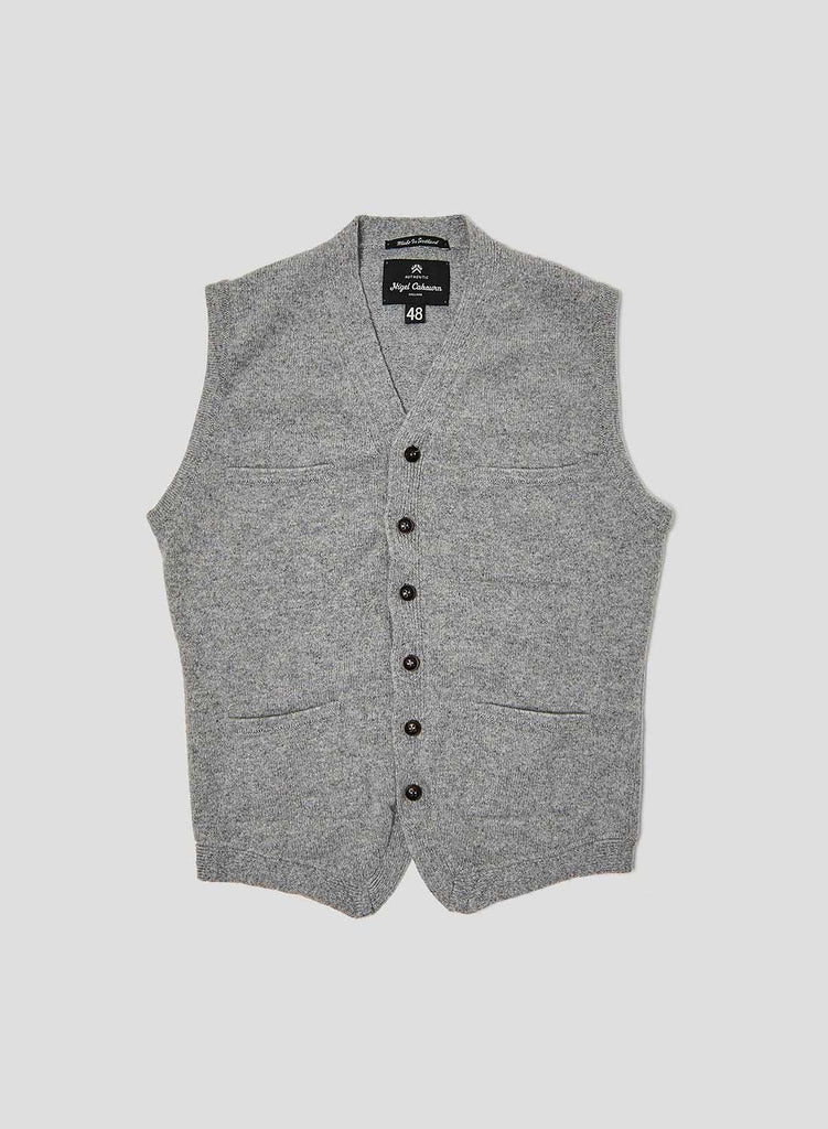 4 Pocket Knitted Vest in Light Grey