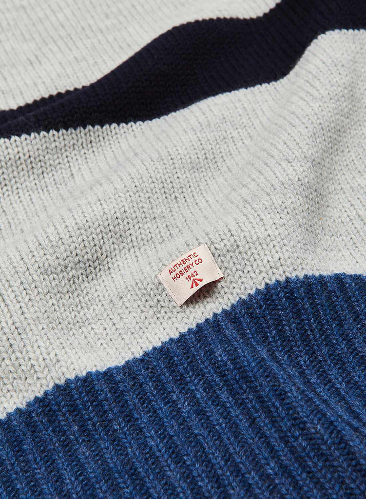 George Lower Roll Neck Jumper in Grey, Blue & Navy