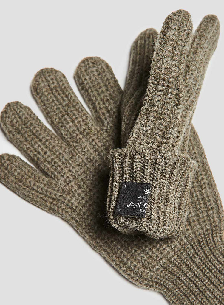 Ribbed Goalie Gloves in Light Army