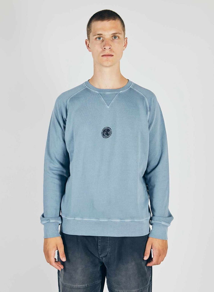 Embroidered Logo Crew Sweat in Washed Blue