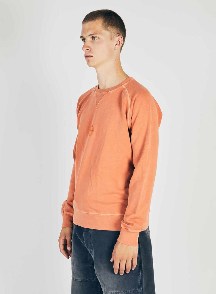 Embroidered Logo Crew Sweat in Vintage Orange