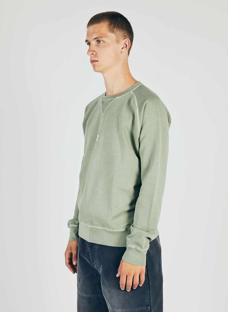 Embroidered Logo Crew Sweat in Washed Army