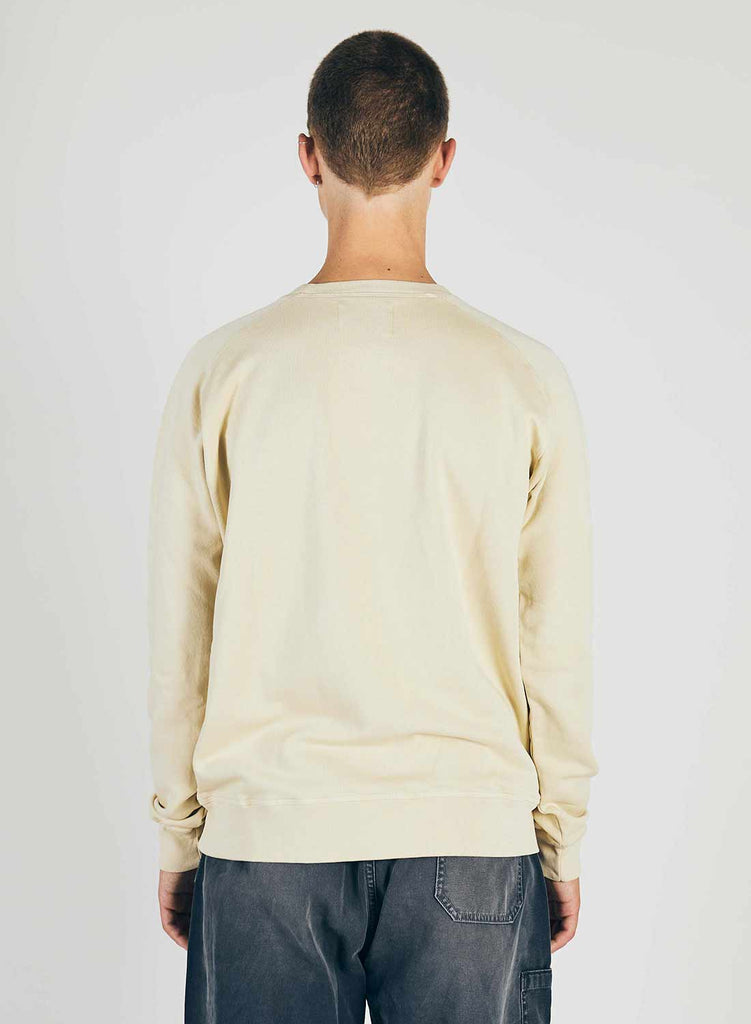 Embroidered Globe Logo Crew Sweat in Natural