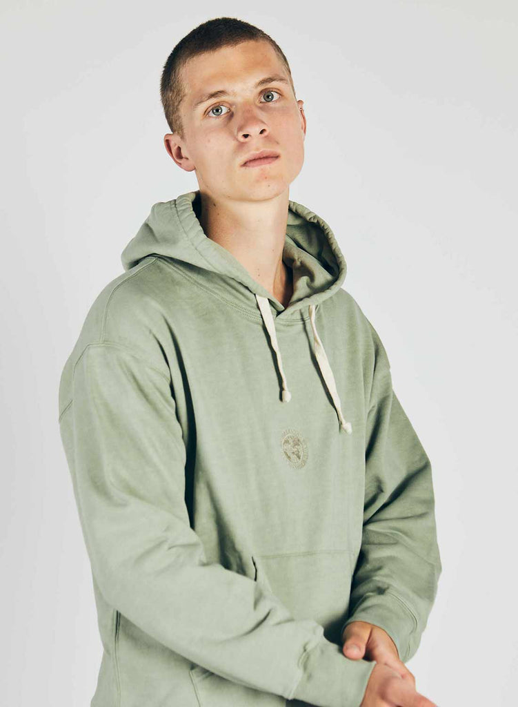 Embroidered Logo Crew Hoodie in Washed Army