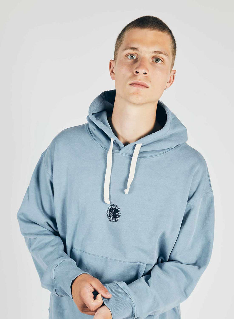 Embroidered Logo Crew Hoodie in Washed Blue