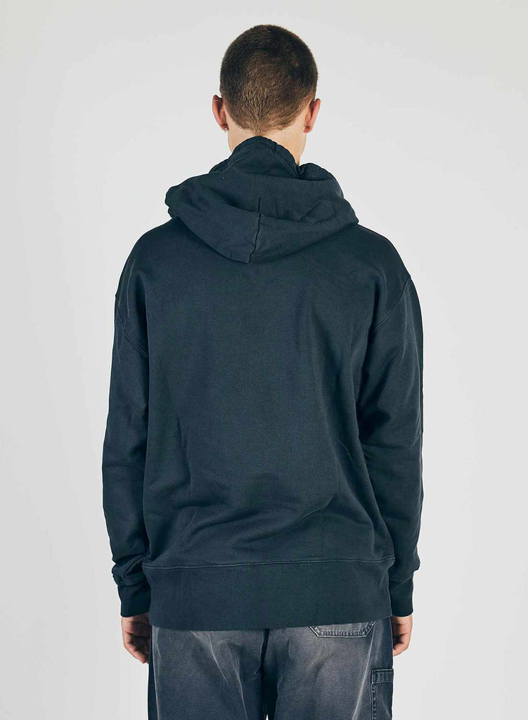 Embroidered Globe Logo Crew Hoodie in Black Navy