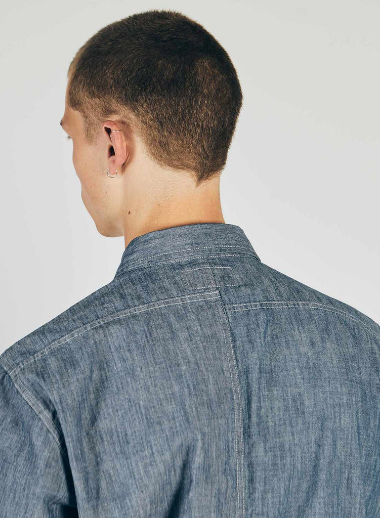 Reversed Denim Shirt in Blue Mix