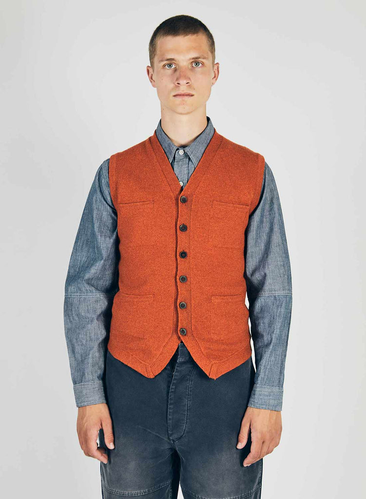 5 Pocket Knitted Vest in Orange