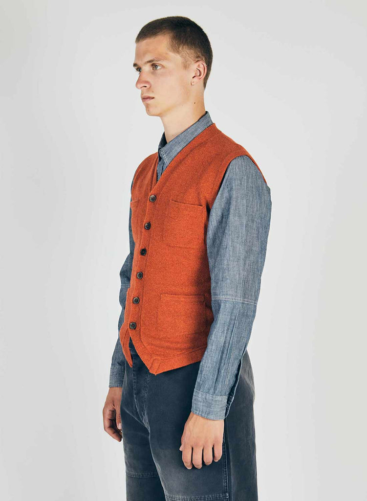 7 Pocket Knitted Vest in Orange