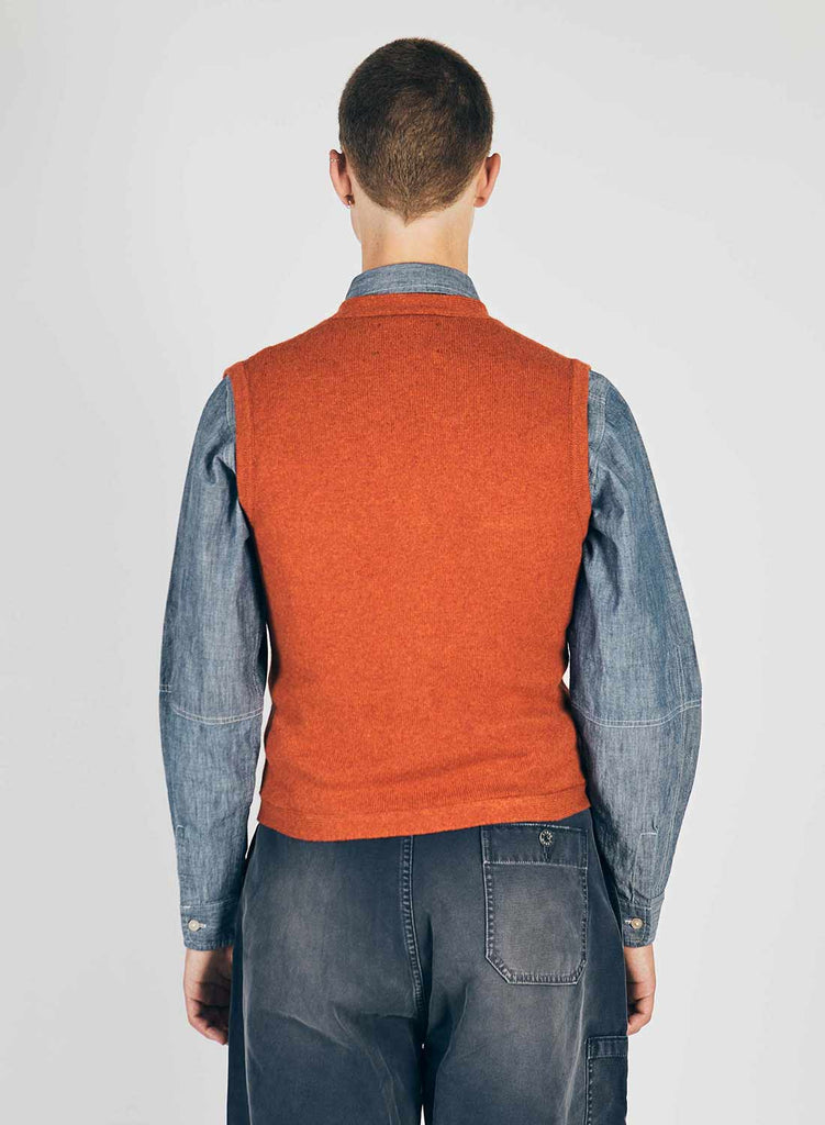 9 Pocket Knitted Vest in Orange