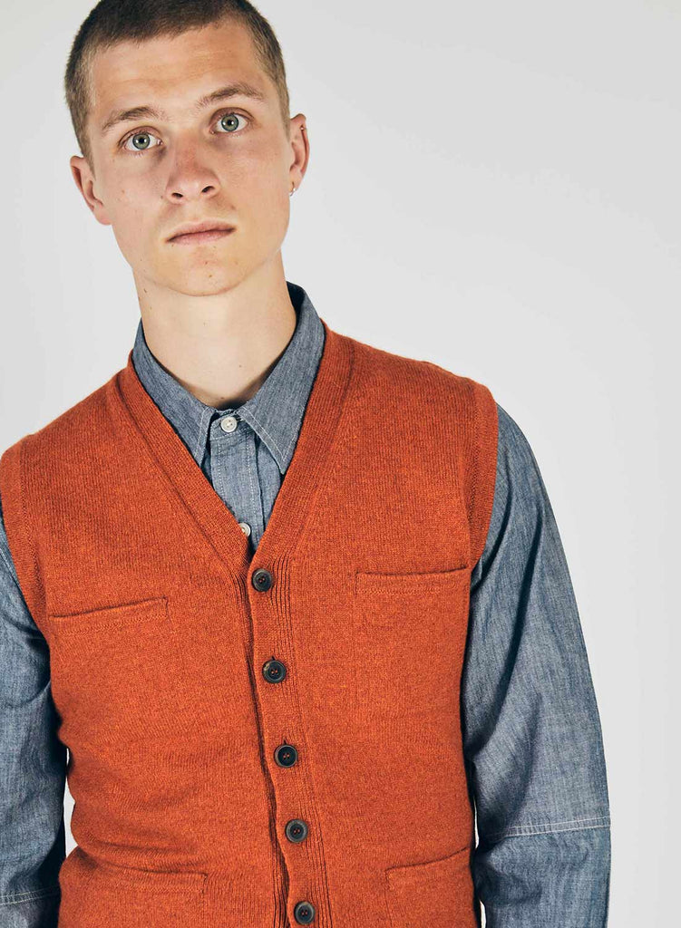 6 Pocket Knitted Vest in Orange