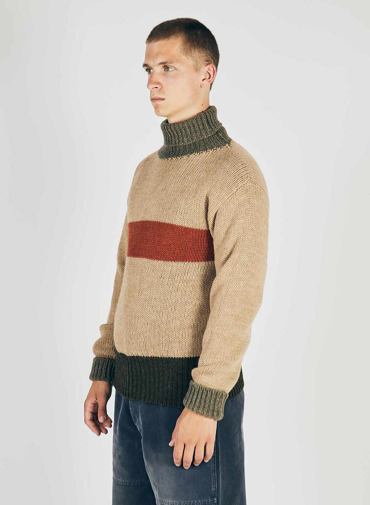 George Lowe Roll Neck Jumper in Stone, Army & Orange