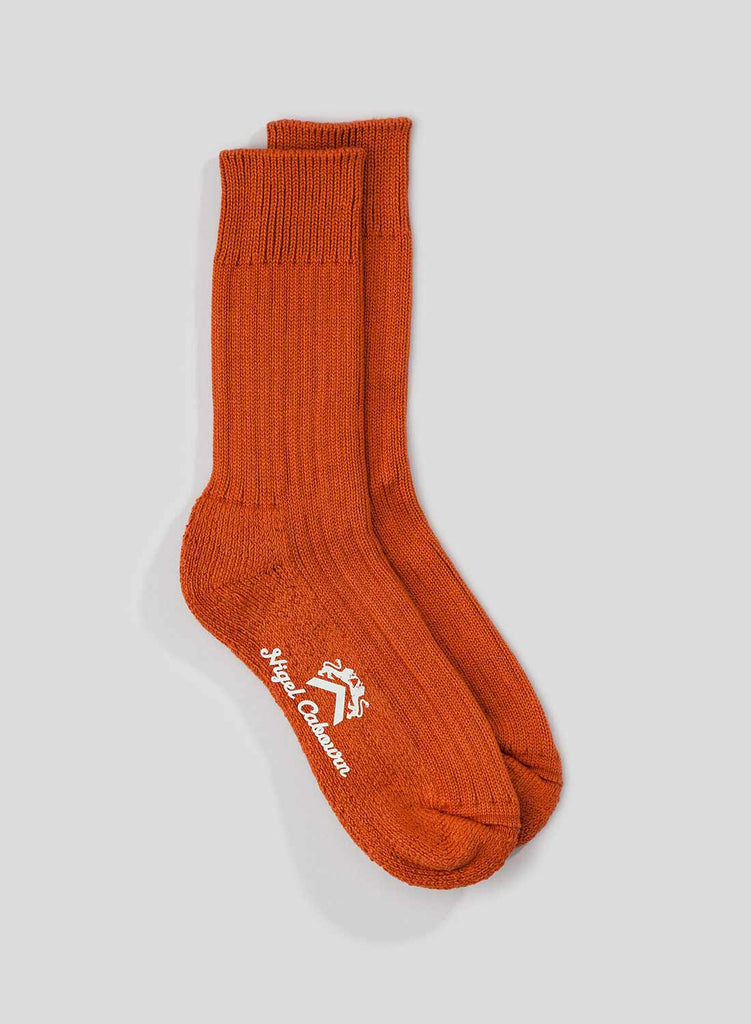 Cushion Sole Ribbed Crew Sock in Burnt Orange