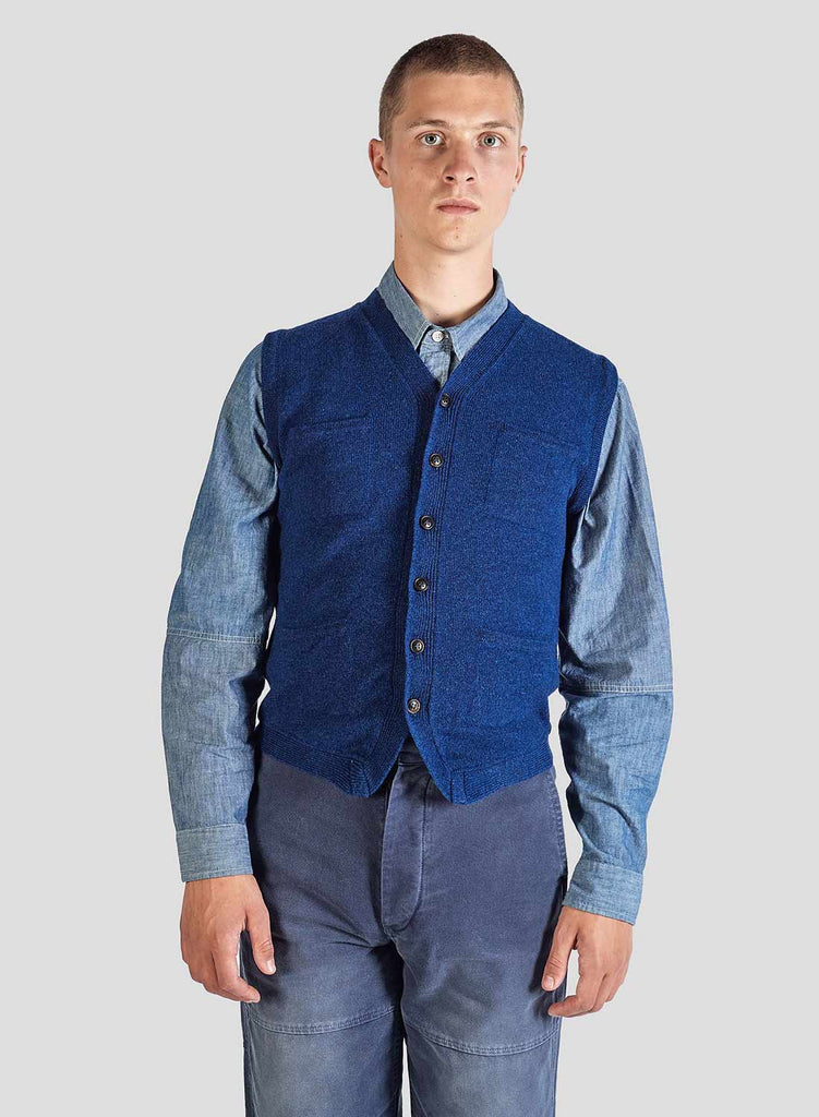 5 Pocket Knitted Vest in Bright Blue
