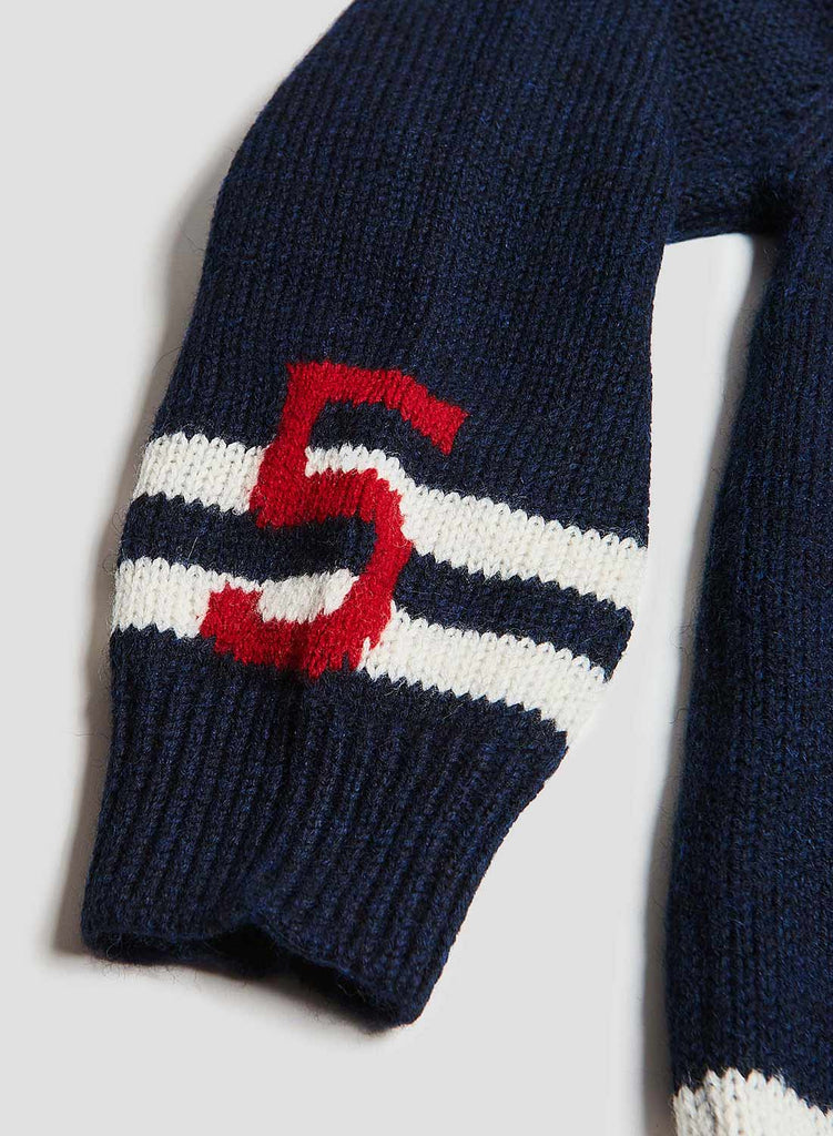 Moss Retro Knit Cardigan in Navy