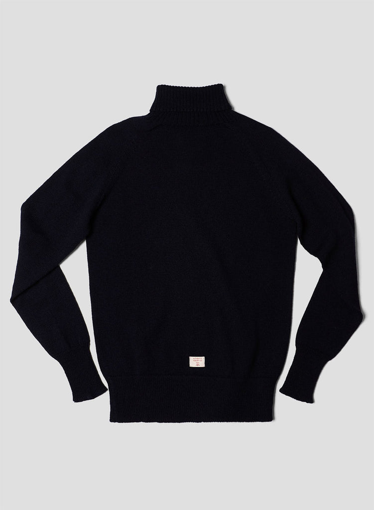 Seamless Roll Neck in Black Navy