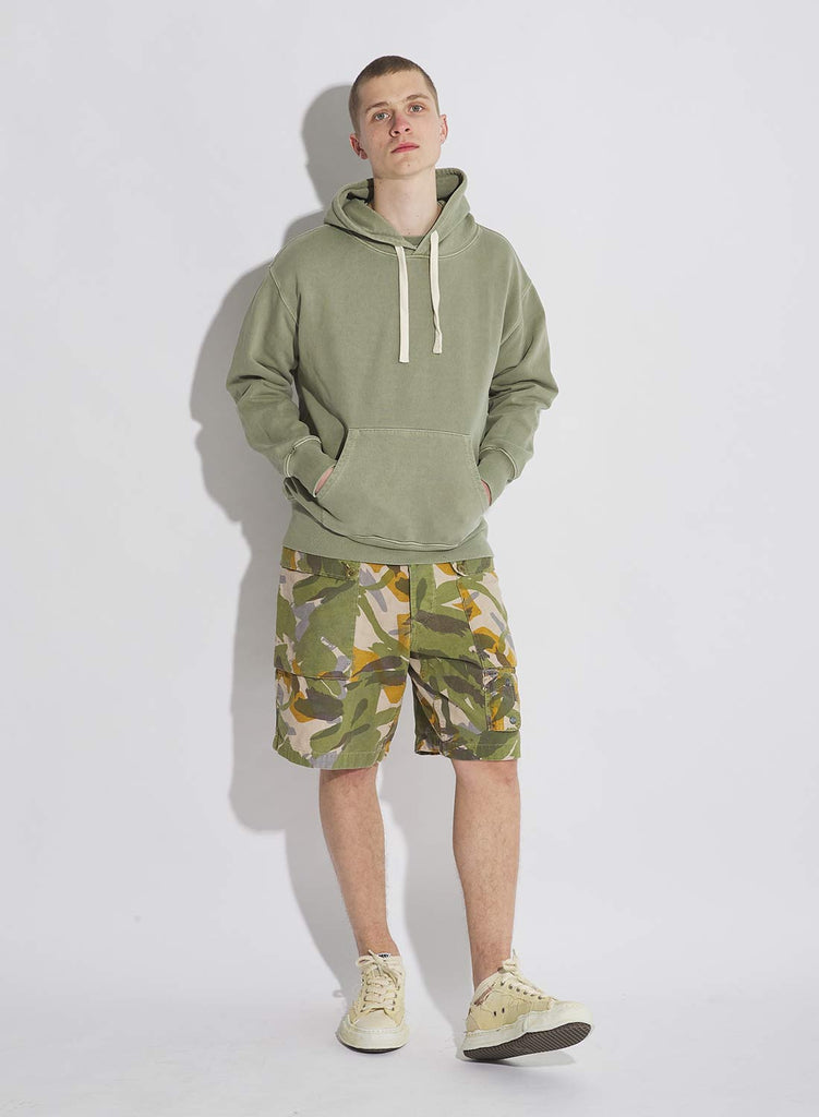 Embroidered Arrow Hoodie in Washed Army