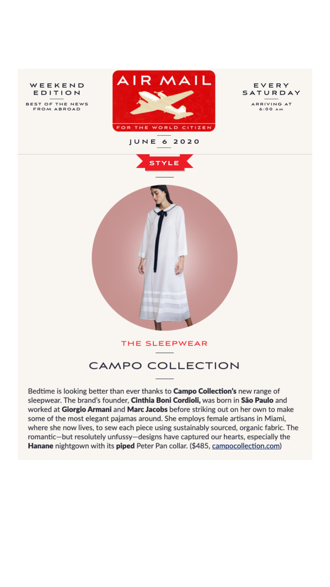 Air Mail - Campo Collection and the Hanane Nightgown