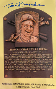 Tommy Lasorda Autographed Hall of Fame Plaque Card