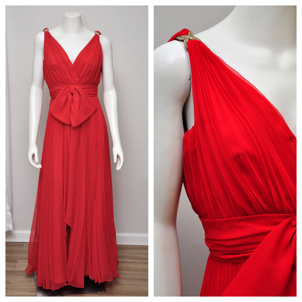 1970s red pleated chiffon sleeveless maxi gown M