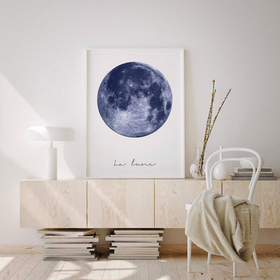 Blue Full Moon Printable - ᐅ Roses On The Moon - Digital Art and Posters