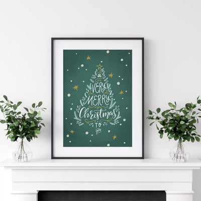 Green Merry Christmas Printable - ᐅ Roses On The Moon - Digital Art and Posters