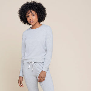 Petit Lem Women's Heather Grey Modal Rib Crewneck