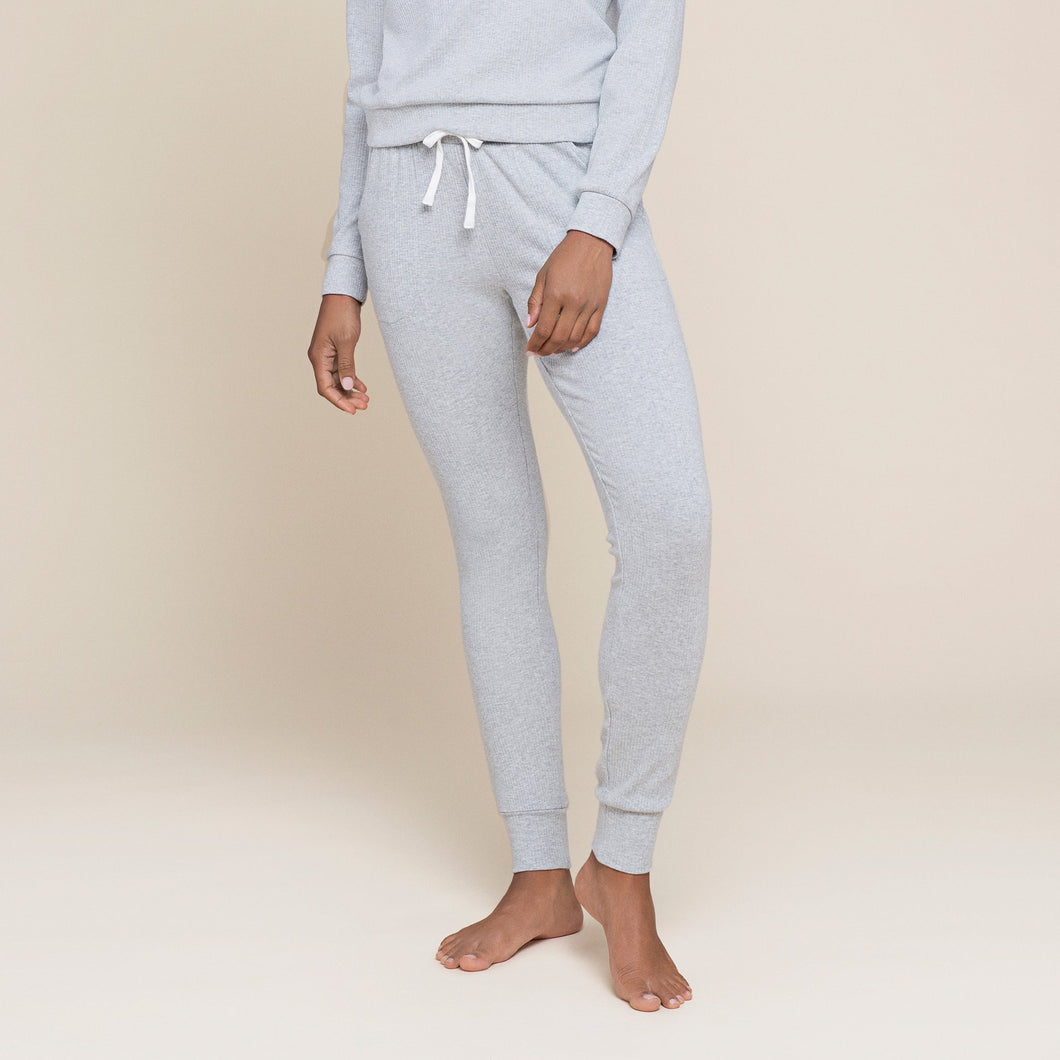 Petit Lem Women's Heather Grey Modal Rib Jogger