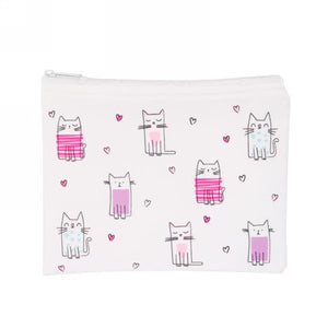 REUSABLE SNACK BAG - PINK CATS