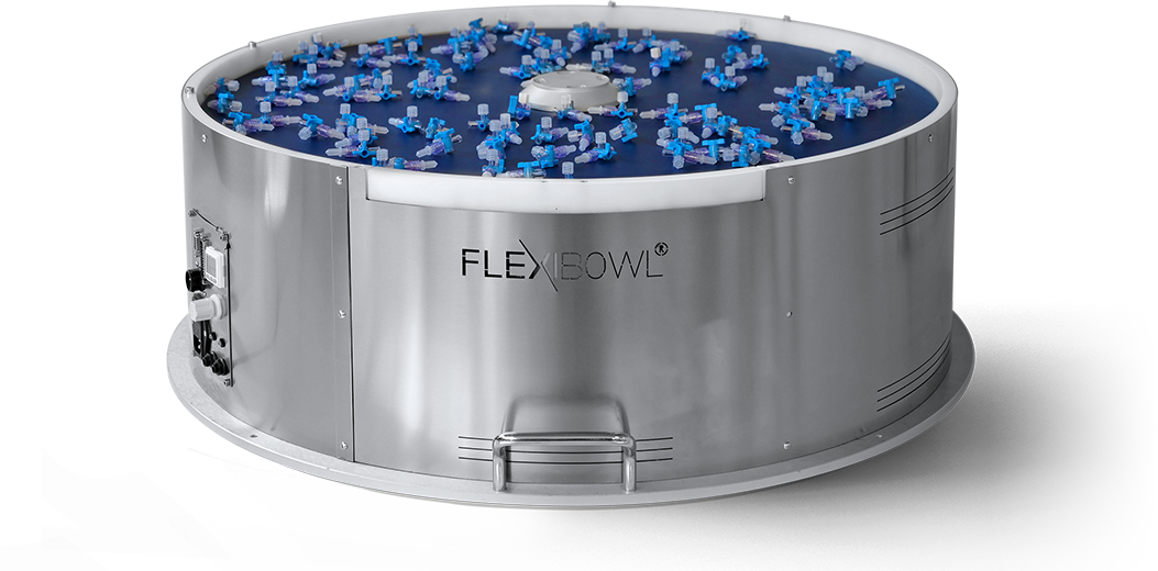 FlexiBowl allows the orientation and separation of components - Vision - flexible parts feeder that is compatible with every robot and vision system - vibrating bowl feeders - vision pour Bol vibrant  - parts feeders - feeder separating - ABB - Mecademic