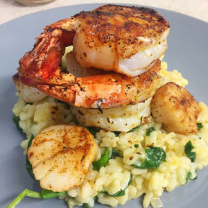 Jumbo Prawns & Seared Scallops with Spinach Risotto