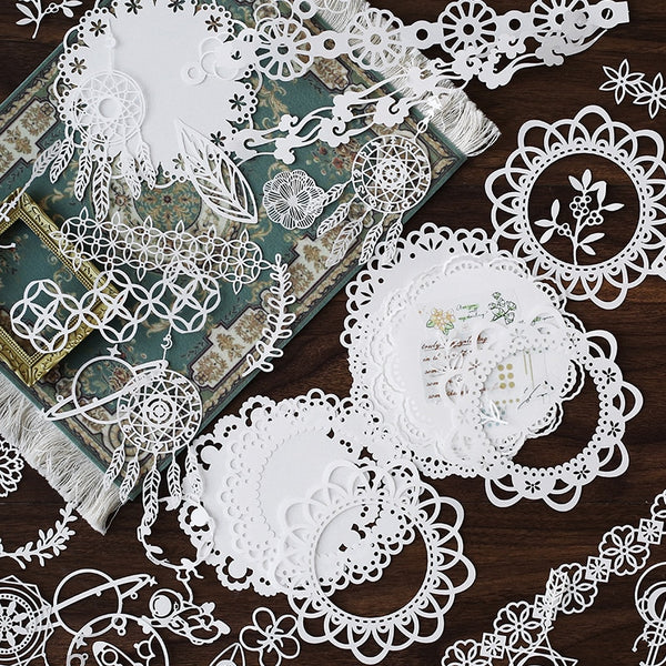 Naifumodo 10PCS Hollow Out Lace Paper Butterfly Flower-Window Lace Retro Decorative Sticker DIY Scrapbooking Label Diary Album