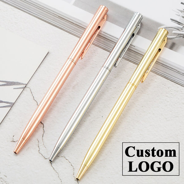Luxury Rose Gold Pen Metal Ballpoint Pen Custom Logo Advertising Ballpoint Pen School&office Supplies Lettering Engraved Name