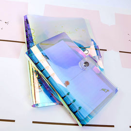 A5 A6 A7 PVC Rainbow laser Transparent Notebook diary Cover Glitter Loose leaf Note Book Planner Clip Office Supplies