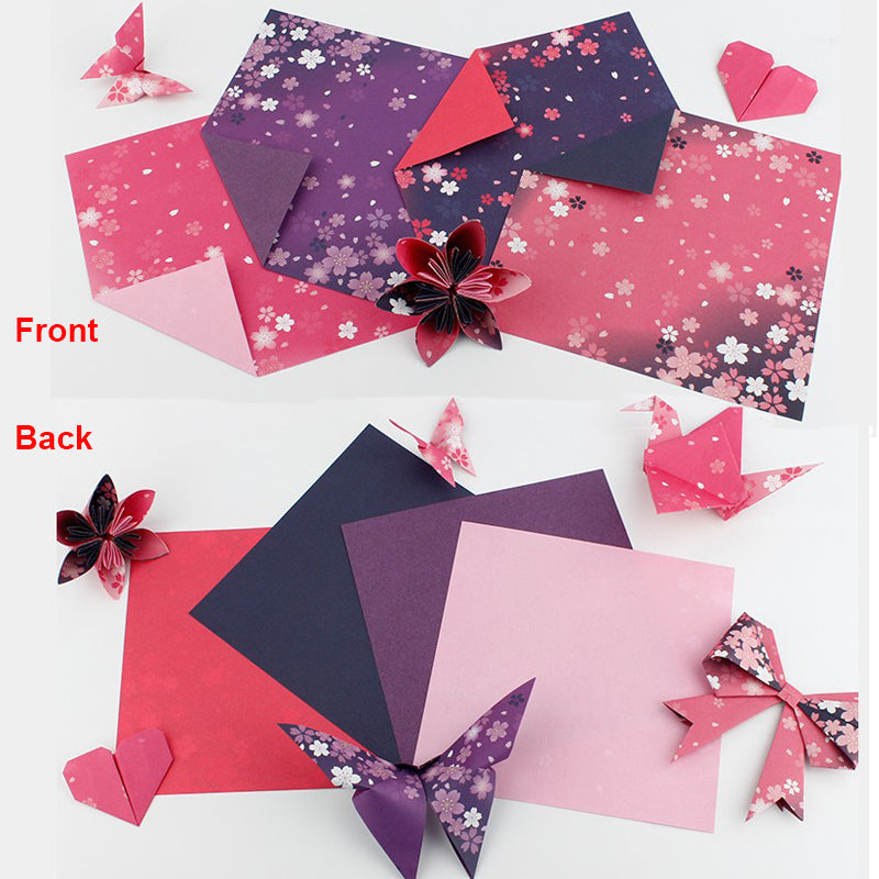 60PCS Square Origami Paper Double Sides Cherry Blossom Folding Colorful Sakura Papers Kids Handmade DIY Scrapbooking Craft Decor
