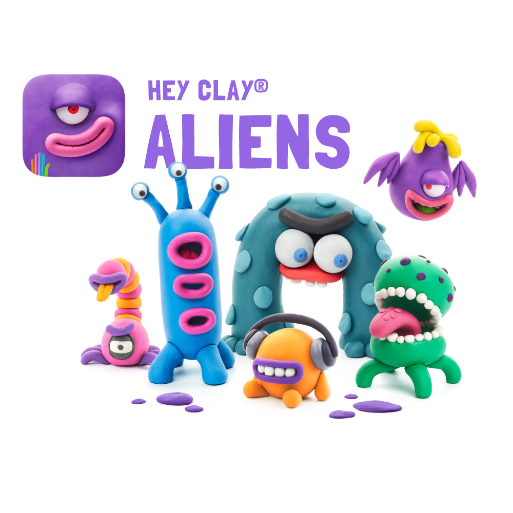 Hey Clay Air-Dry Modelling Clay - Aliens