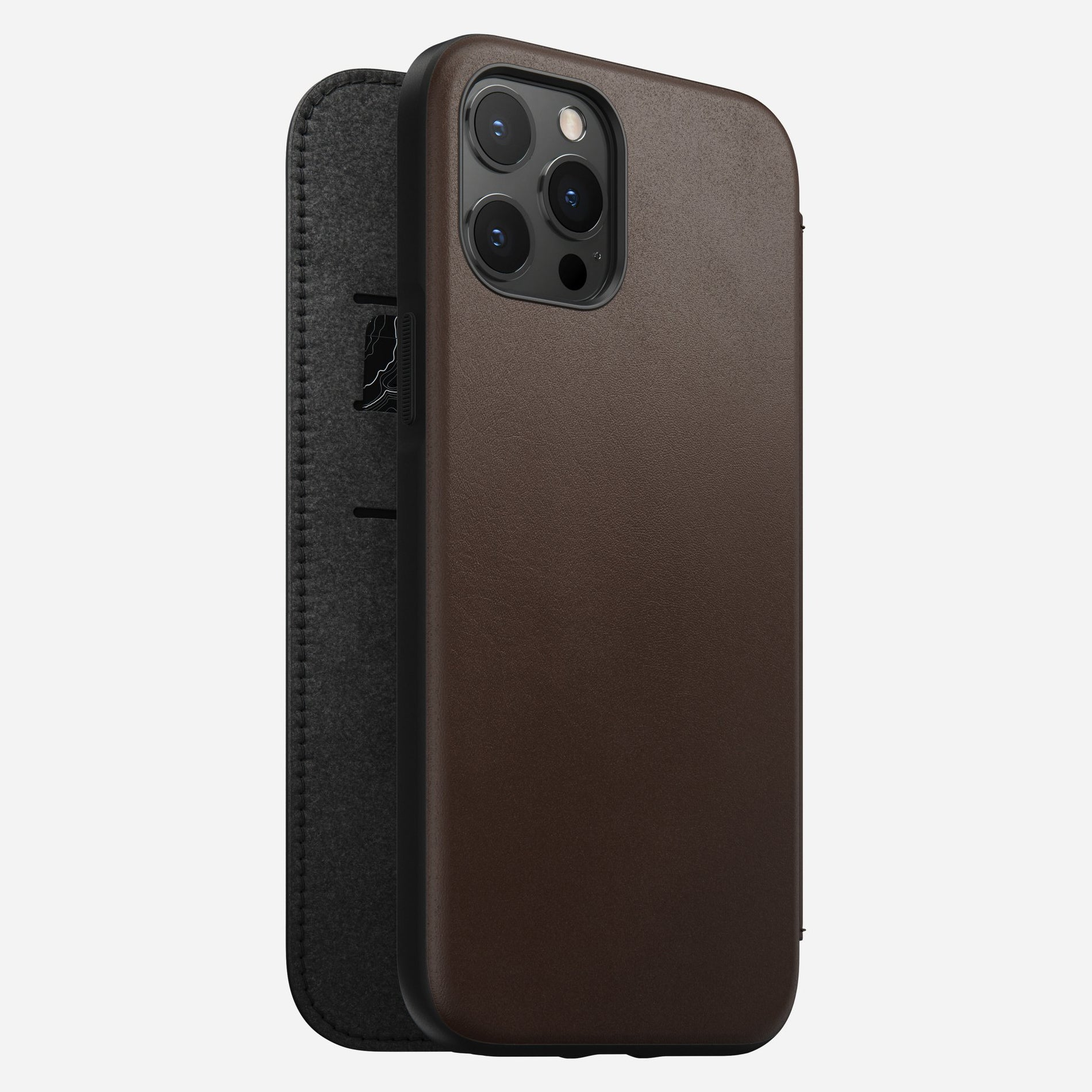 Nomad Rugged Folio Case w/ Horween Leather For iPhone 12 Pro Max - Brown