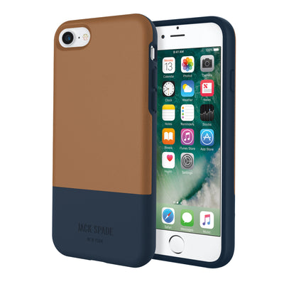 Jack Spade Color-Block Case For iPhone 8/7 - Tan/Navy - Macintosh Addict