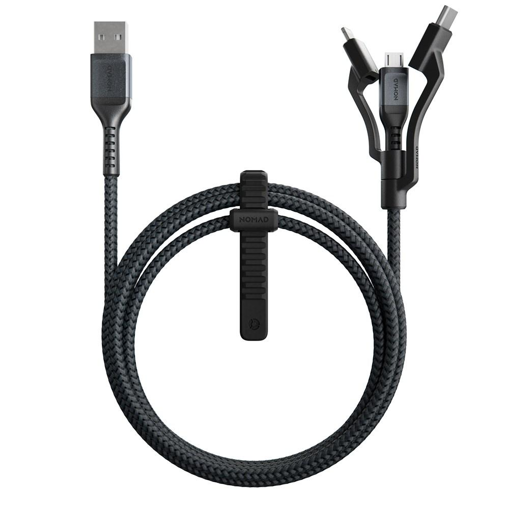 Nomad Rugged Universal 3-In-1 Lightning + USB-C + Micro USB Cable with Kevlar - 1.5M - Macintosh Addict