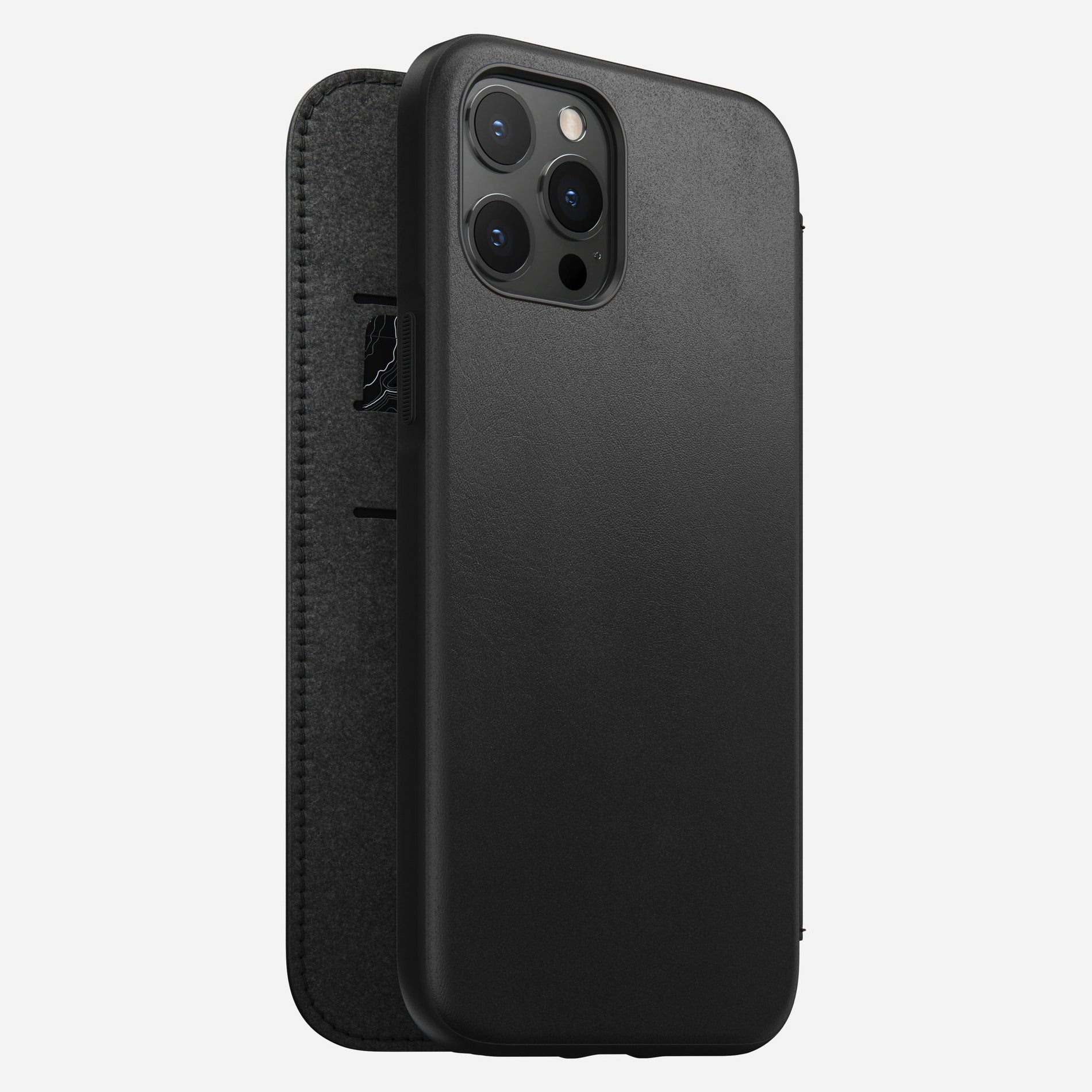 Nomad Rugged Folio Case w/ Horween Leather For iPhone 12 Pro Max - BLACK