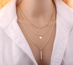 Copper bead chain sequin metal strip multi-layer necklace